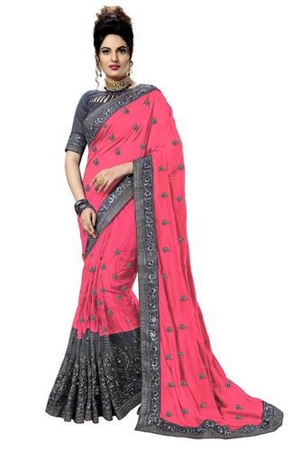 Net Embroidery Saree