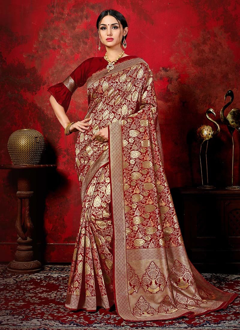 Banarasi Silk Latest Designer Party Wear Zari Work Sarees Collection