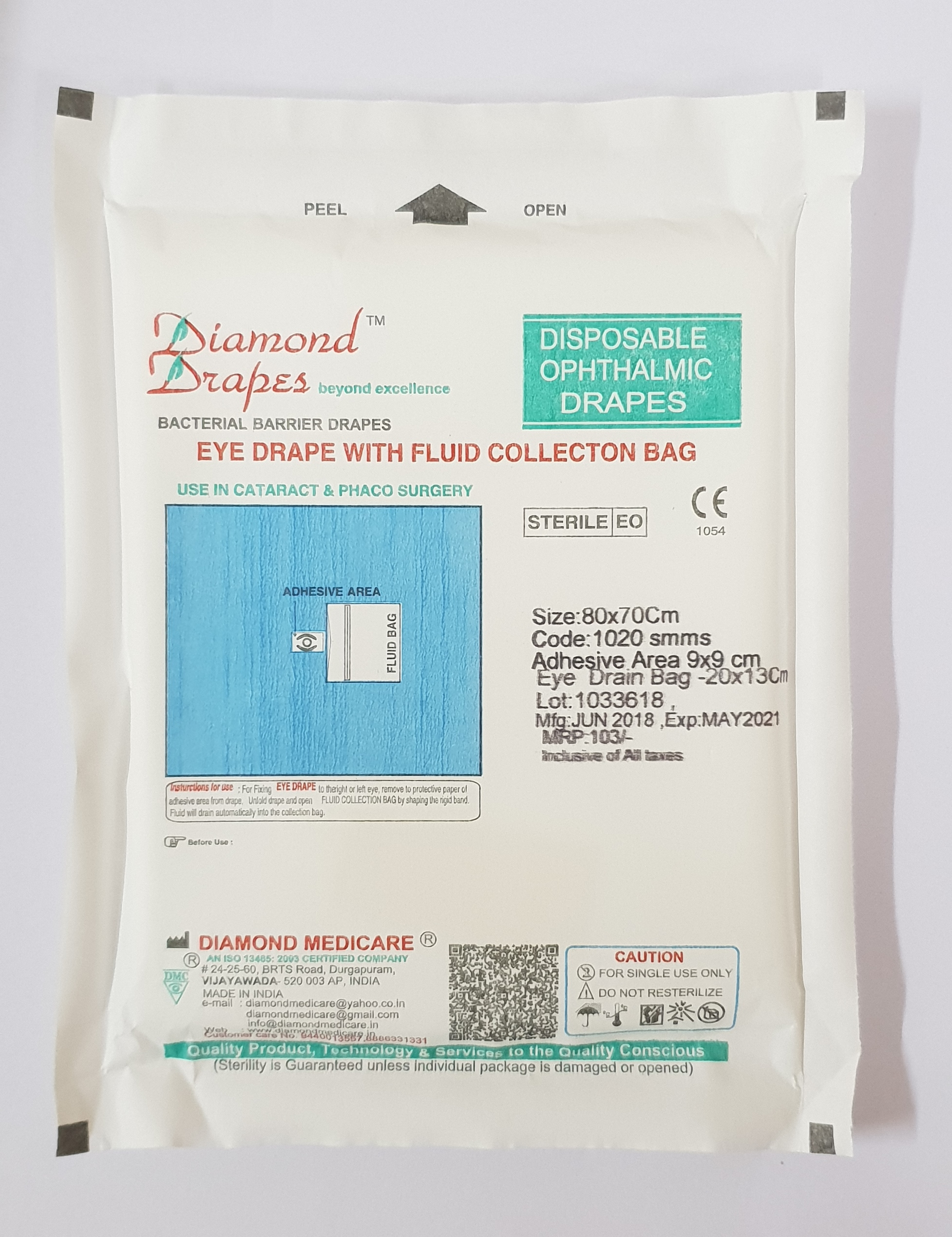 Ophthalmic Eye Drape with Fluid Bag