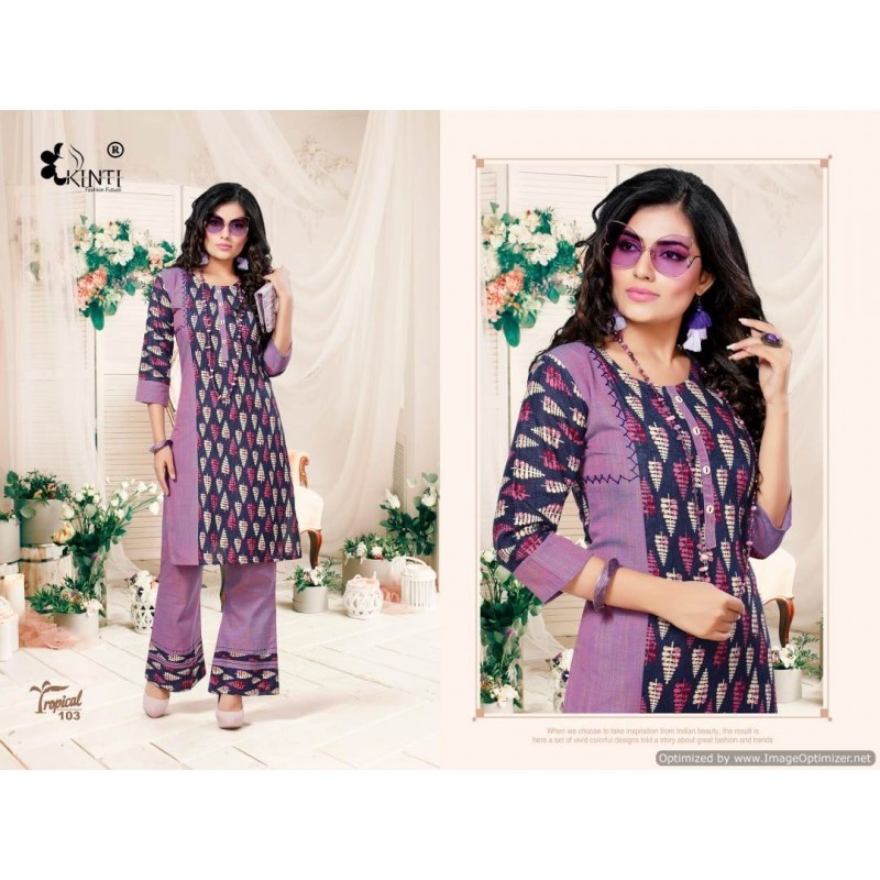 KURTI WITH PRINTED PLAZO READY MADE