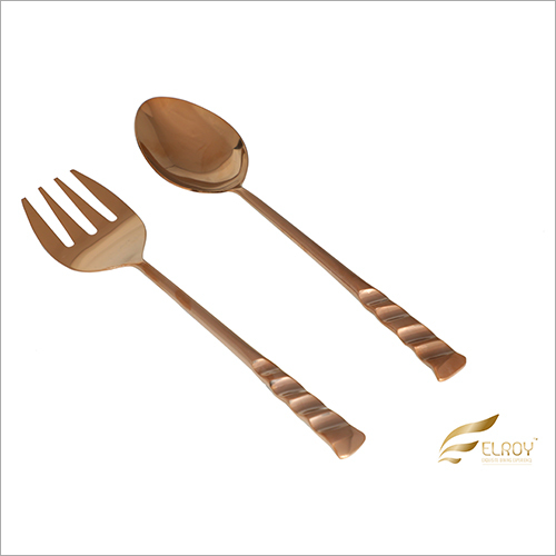 Salad Server Cut Rose Gold Cutlery Set
