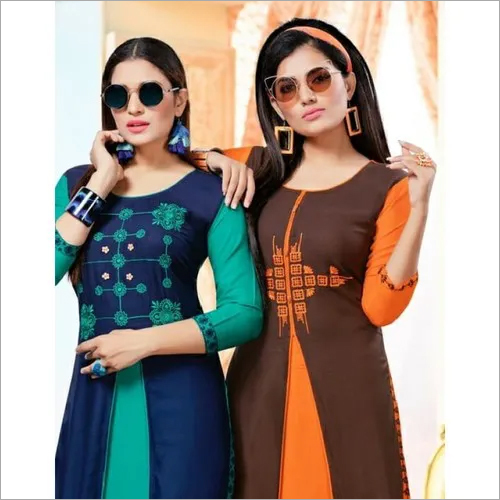 RAYON WITH WORK PRINTED KURTIS