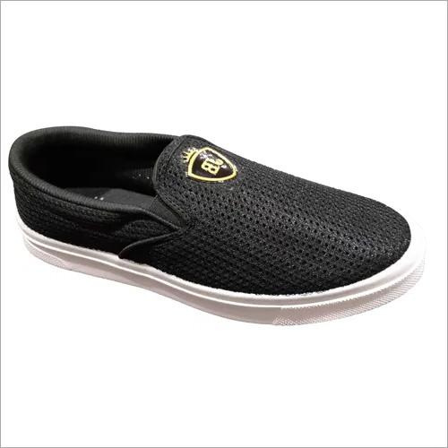Mens Black Fender Casual Slip On Shoes
