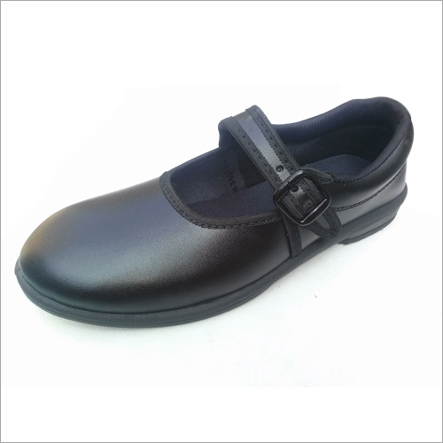 Girls Black Ankle Strap School Shoes