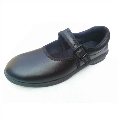 Girls Black Ankle Strap School Shoes