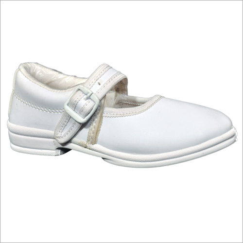 Girls White Ankle Strap School Shoes
