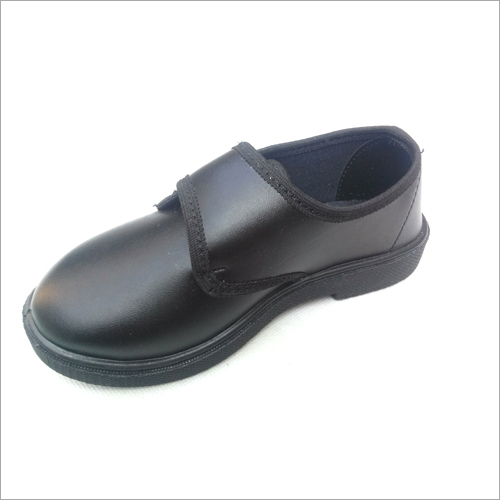 Boys Black Velcro Closure Derby School Shoes