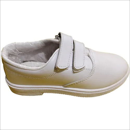 Velcro Closure Derby White School Shoes