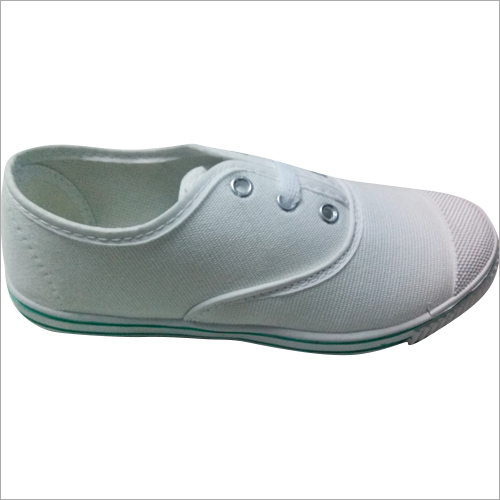 Boys White Canvas School Shoes