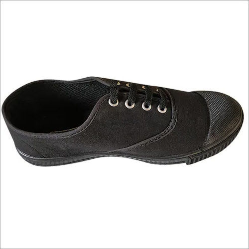 Boys Black Canvas School Shoes
