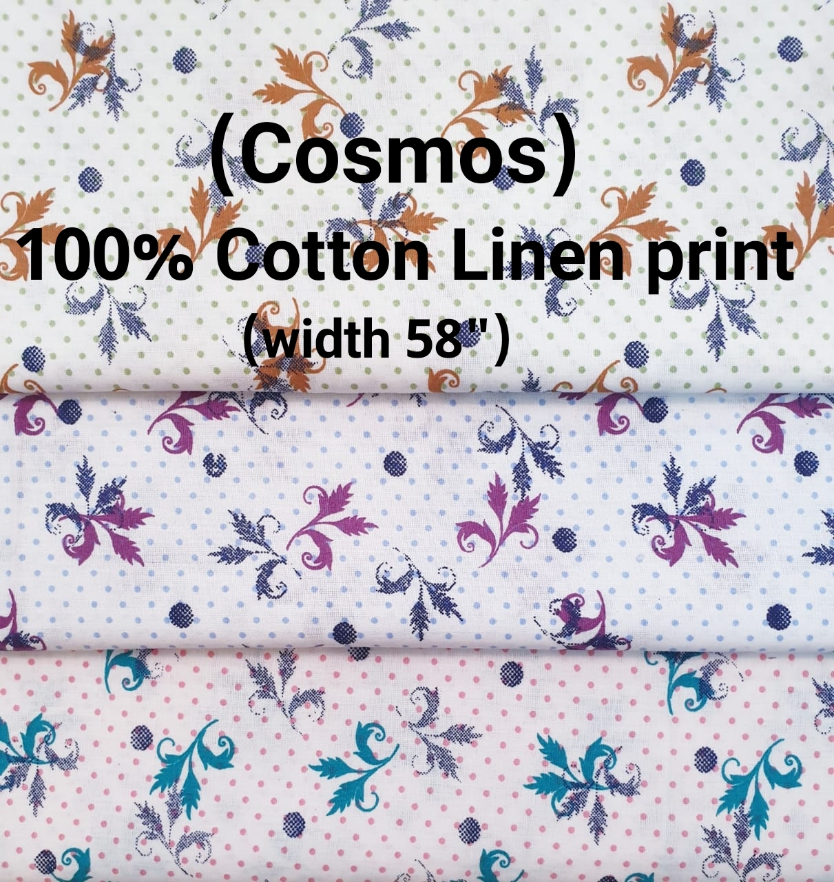 COSMOS 100% cotton linen print
