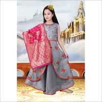 Girls Embroidered Party Wear Gown