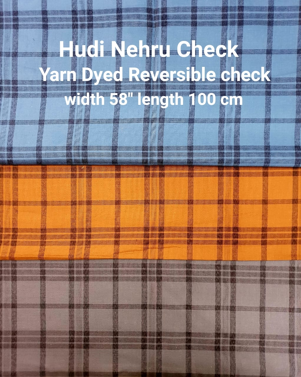 HUDI NEHRU CHECK yarn dyed reversible check