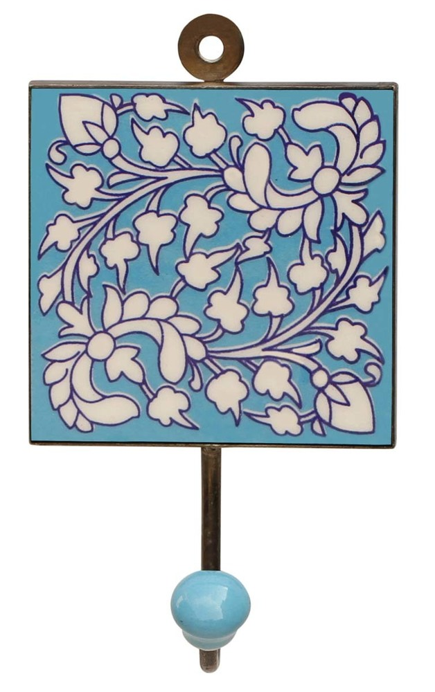 Ceramic Wall Hook with Floral Pattern in Blue Base