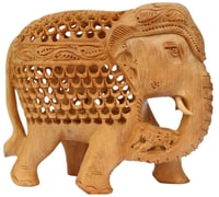 Wooden Figurine and Statue of Mother and Baby Elephant