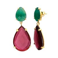 Ruby Hydro & Green Onyx Gemstone Earrings
