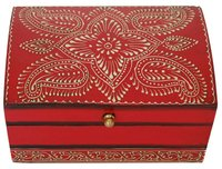 Wooden Vintage Look Red Jewelry Box