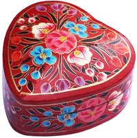 Paper Mache Red Heart Jewelry Box