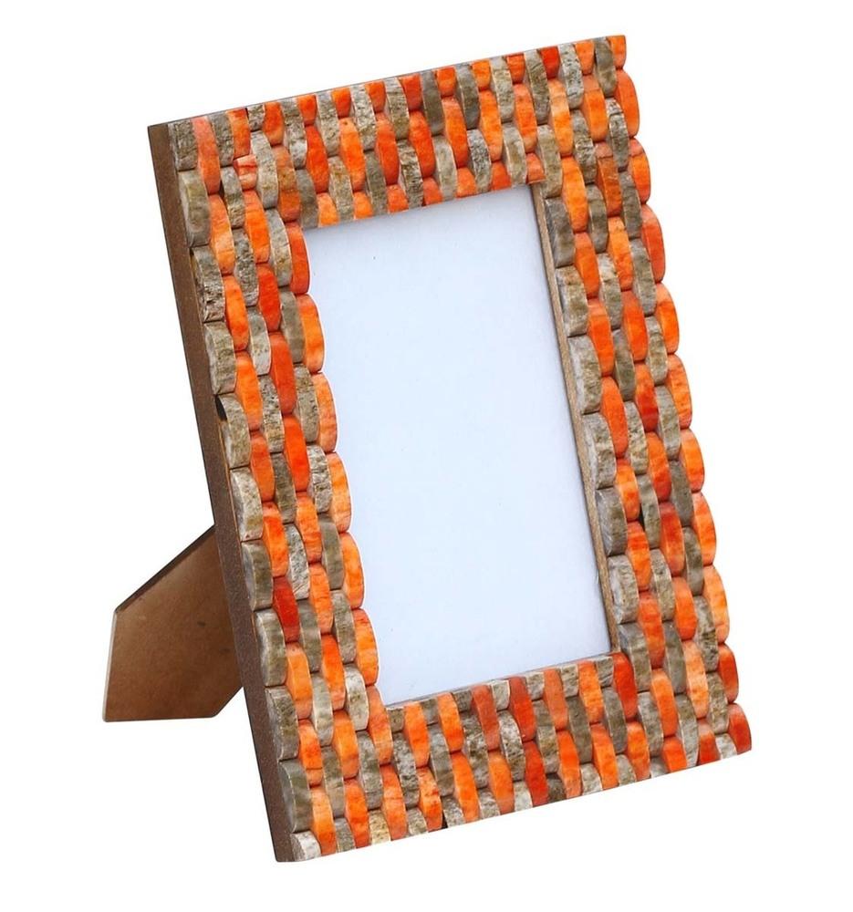 Photo Frame Orange & Brown Tile Striped Pattern