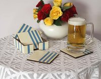 Mdf Square Coasters In Set Of 4 With Holder