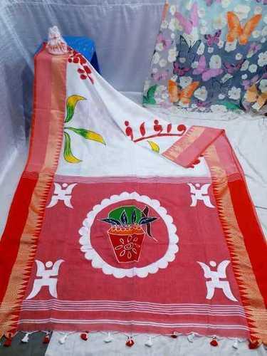 Red And White Khadi Saree