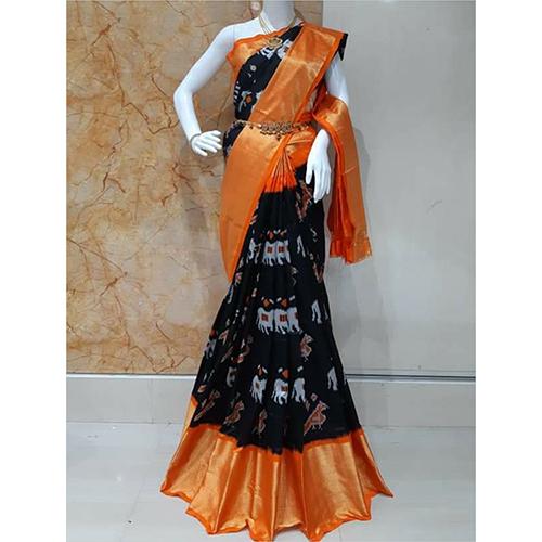 Pochampally Black Red Border Saree