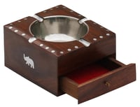 Wooden Ashtray With Holder Slots & Storage Drawer