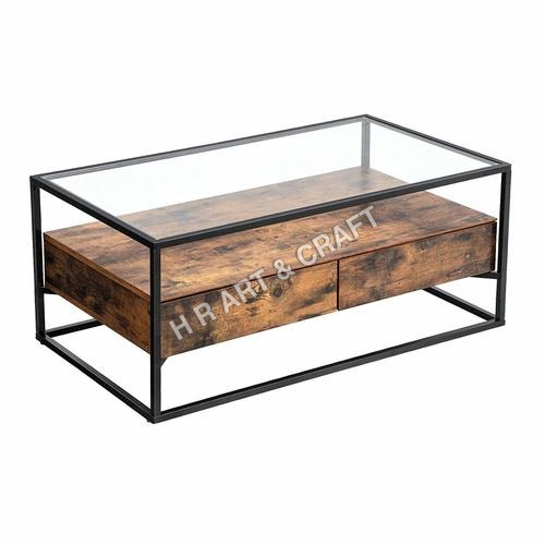 Traditional Glass Top Coffee Table
