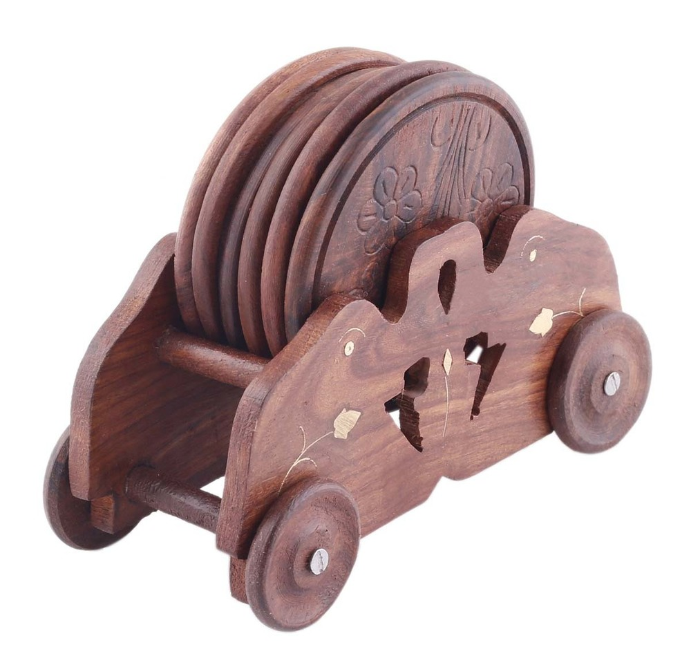 Set Of 6 Coasters With Car-Shaped Holder