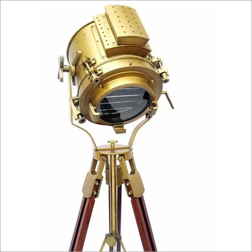 Nautical Antique Finish Brass Spotlight Searchlight Wooden Tripod Floor Lighting Stand Vintage Home Decor