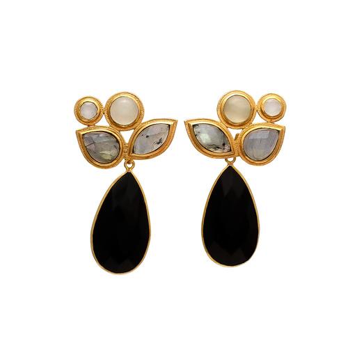 Black Onyx Labradorite & Milky Chalcedony Gemstone earrings