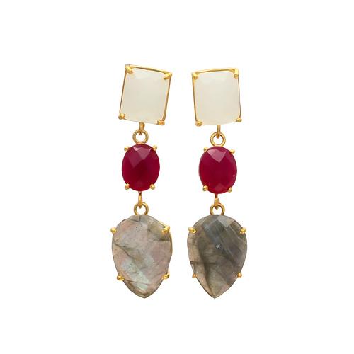 Labradorite Fuchsia & Milky Chalcedony Gemstone earrings
