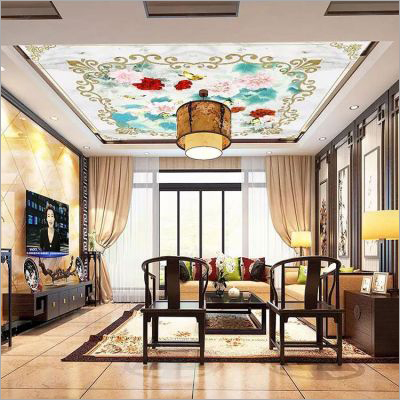 Flower Print PVC Stretch Ceiling Film