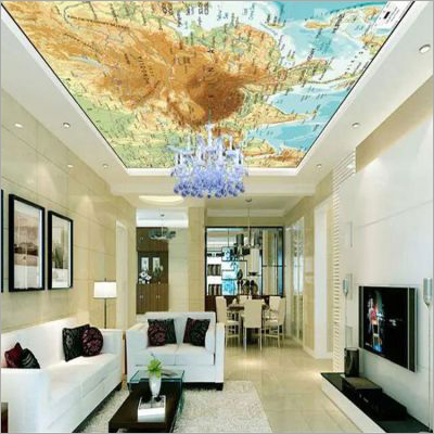 3D Printed Beautiful Pattern On Translucent Stretch Ceiling Film