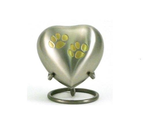 Odyssey Paw Print Pewter Heart Cremation Keepsake