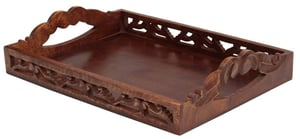 Hand Carved Wooden Serving Tray with Handles