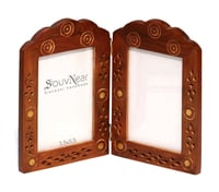 Vertical Double Wooden Photo Frame