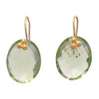 Green Amethyst Hydro Gemstone Earrings