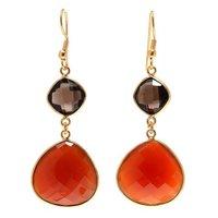 Carnelian & Smoky Topaz Hydro Gemstone earrings