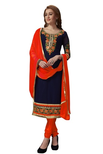 Floral embroidered cotton unstitched salwar suit