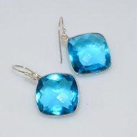 Blue Topaz Hydro Gemstone Earrings