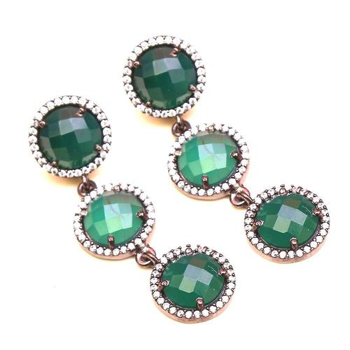 Green Onyx & White Cz Gemstone Earrings