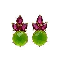 Pink Tourmaline & Sea Green Chalcedony Gemstone earring