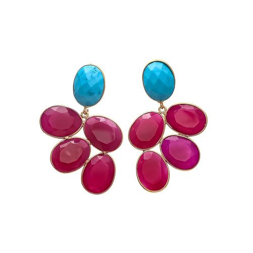 Turquoise & Fuchsia Chalcedony Gemstone Earrings