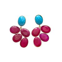 Turquoise & Fuchsia Chalcedony Gemstone Earrings