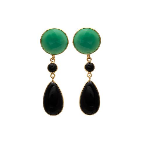 Black Onyx & Green Onyx Gemstone Earrings