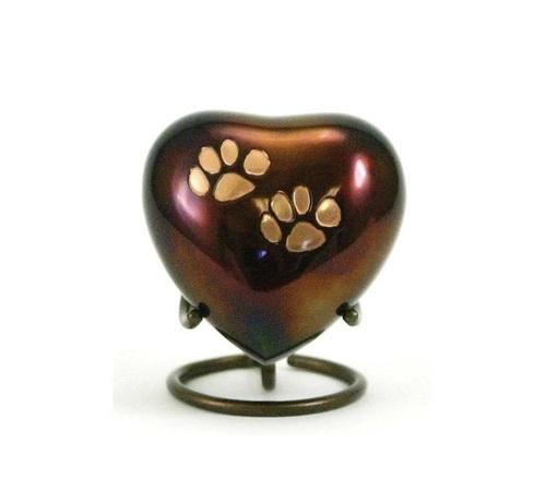 Odyssey Paw Print Copper Heart Keepsake New