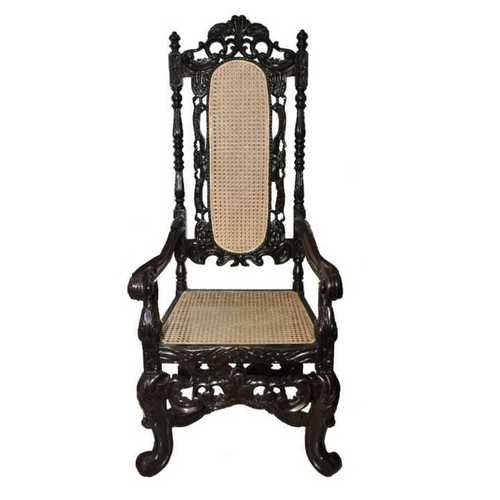 Antique Wooden High Back Chair