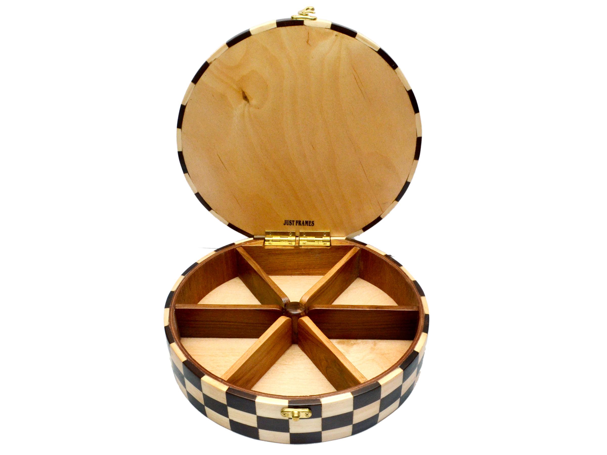 Round Shape Wooden Dryfruit Box