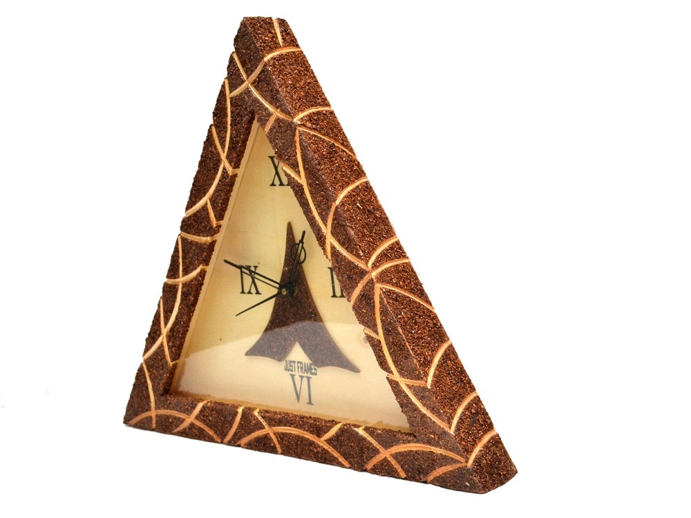 Triangle Shape Wooden Wall Clock